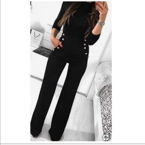 Best Fitting  gold buttons sailor style pants